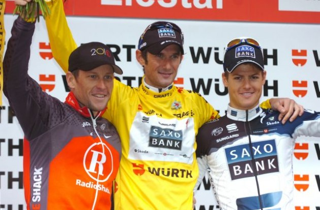 Lance Armstrong, Frank Schleck and Jacob Fuglsang on the podium. Photo copyright Fotoreporter Sirotti.