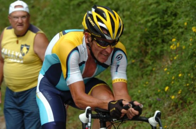 Lance Armstrong (Team Astana) working hard to improve his form before the 2009 Tour de France. Photo copyright Fotoreporter Sirotti.