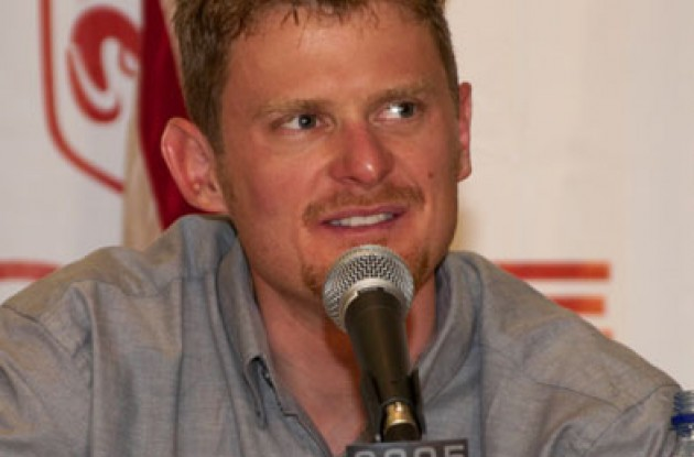 A happy Floyd Landis (Team Phonak Hearing Systems) at the press conference. Not wearing cool glasses in this shot though. Photo copyright Ben Ross/Roadcycling.com.