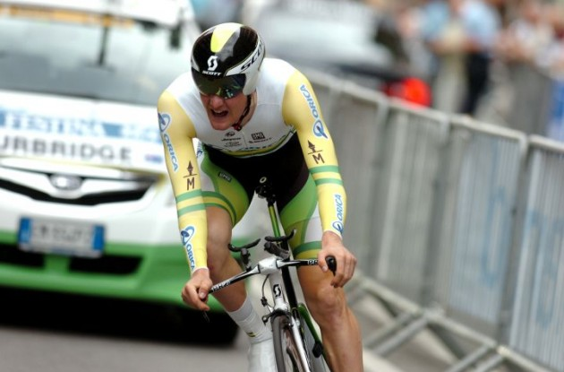 Luke Durbridge on his way to victory in the 2012 Criterium du Dauphine Libere prologue in Grenoble, France. Photo Fotoreporter Sirotti.
