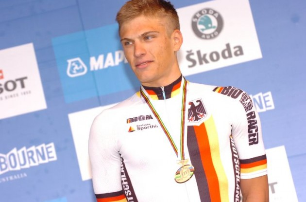 Germany's Marcel Kittel on the podium in Geelong. Photo copyright Fotoreporter Sirotti.