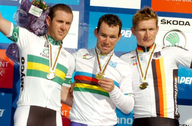 Mark Cavendish, Matthew Goss and André Greipel on the podium near Copenhagen, Denmark. Photo Fotoreporter Sirotti.