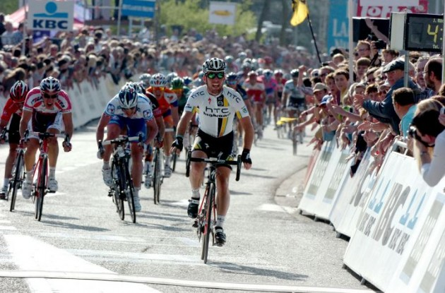 Mark Cavendish (Team Columbia-HTC) has blasted to his first victory of the Tour de France 2009. Photo copyright Fotoreporter Sirotti.