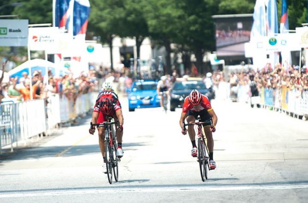 Matthew Busche wins the sprint against George Hincapie. Photo copyright Casey B. Gibson.