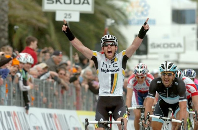 Team HTC-HighRoad's Matthew Goss powers to win in 2010 Milano-San Remo ahead of Team Leopard-Trek's Fabian Cancellara and Philippe Gilbert of Team Omega Pharma-Lotto. Team BMC Racing's Alessandro Ballan finishes 4th. Photo Fotoreporter Sirotti.