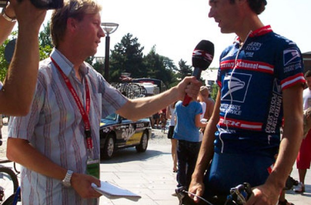 Michael Barry talks to the press at the Tour of Denmark. Photo copyright Roadcycling.com.
