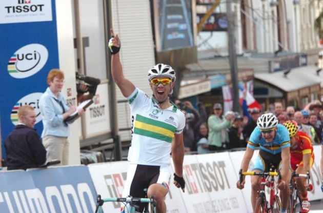 Michael Matthews (Australia) wins the U23 Men's Road Race at 2010 UCI Road Cycling World  Championship. Photo Fotoreporter Sirotti.