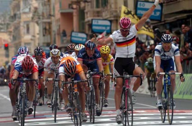 congratulations to Erik Zabel following his win in yesterday's Paris-Tours race. Let's hope for their sake that the Germans have not made a mistake by letting the aging sprinter leave. Photo copyright Fotoreporter Sirotti.