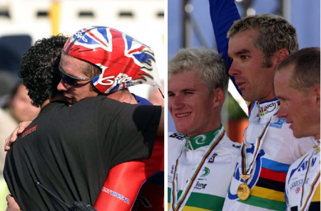 Left: A happy World Champion hugs a friend. Right: Rogers, Millar and Peschel on the podium in sunny Hamilton. Photo copyright Paul Sampara Photography.