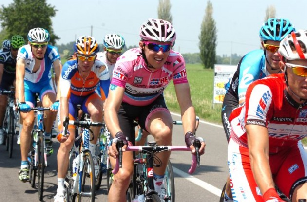 Giro d'Italia leader Ramunas Navardauskas. With pink comes attention. Photo Fotoreporter Sirotti.