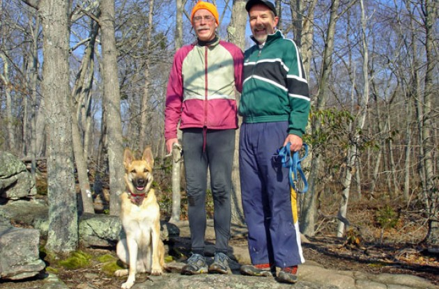 Charles and Paul with dog Max at Lost Lake. Photo copyright Paul Rogen/Roadcycling.com.