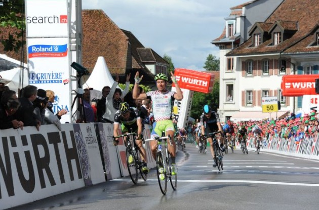 Team Liquigas-Cannondale's Peter Sagan powers to sprint victory in stage 3 of 2012 Tour of Switzerland. Photo Fotoreporter Sirotti.