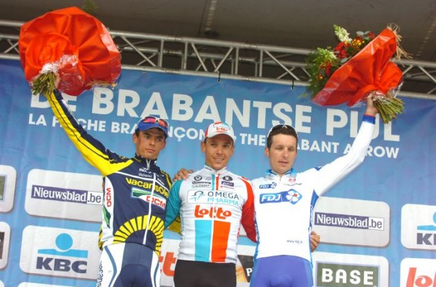 Team Omega Pharma - Lotto's Philippe Gilbert wins De Brabantse Pijl 2011 ahead of Björn Leukemans (Vacansoleil) and Anthony Geslin (Team FDJ). Photo copyright Fotoreporter Sirotti.