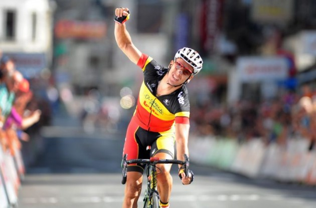 Omega Pharma-Lotto's Philippe Gilbert wins stage three of the 2010 Vuelta a Espana and takes overall Vuelta lead from Team HTC-Columbia's Mark Cavendish. Photo copyright Fotoreporter Sirotti.