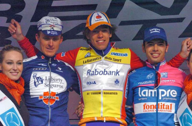Thomas Dekker on the Tirreno-Adriatico podium. Photo copyright Fotoreporter Sirotti.