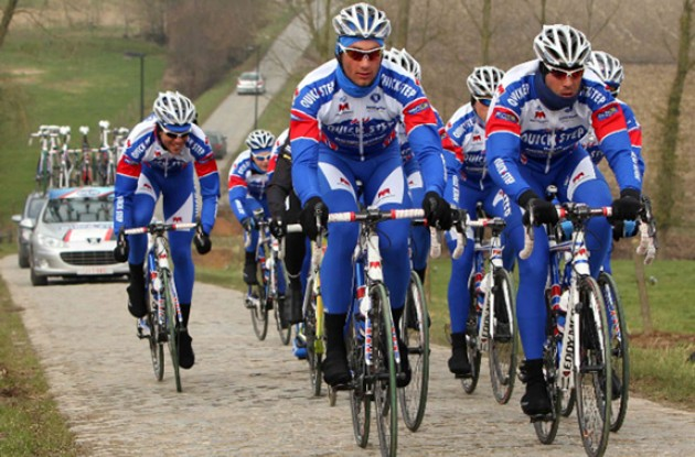 Team QuickStep prepares for the first spring classics of the 2011 pro road cycling season.