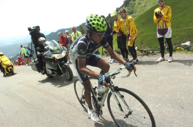 Nairo Alexander Quintana Rojas on his way to victory in stage 6 of the Dauphine Libere. Photo Fotoreporter Sirotti.