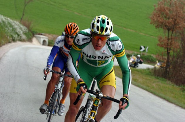 Gregory Rast working hard in Tirreno-Adriatico.