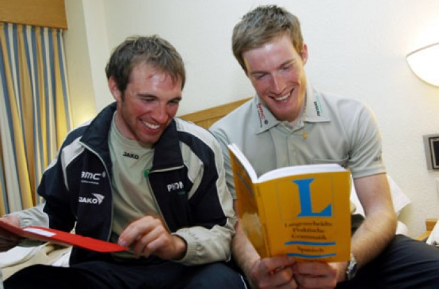 Gregory Rast (right) and team mate Michael Albasini taking a course in Spanish - Learning new languages is part of life as a pro cyclist.