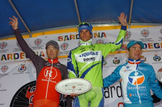 Chris Horner, Roman Kreuziger and Thomas Voeckler on the podium. Photo copyright Fotoreporter Sirotti.