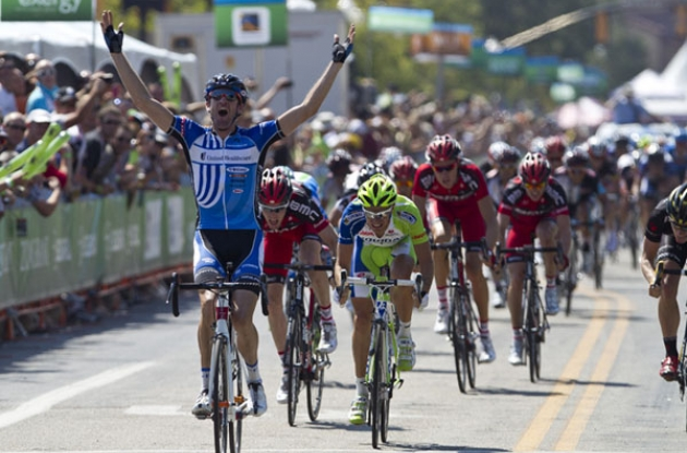 Rory Sutherland powers to victory in stage 1 of the 2012 Tour of Utah. Photo copyright Jonathan Devich @epicimages.us