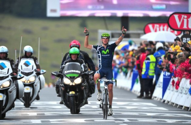 Team Movistar's Rui Costa breaks away from peloton and wins stage 8 of 2011 Tour de France. Photo Fotoreporter Sirotti.
