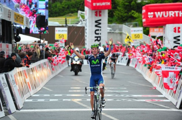 Rui Da Costa climbs to stage victory and overall race lead in 2012 Tour of Switzerland. Photo Fotoreporter Sirotti.