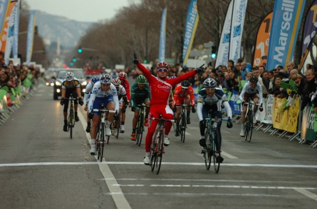 Samuel Dumoulin of Team Cofidis powers to sprint victory in Grand Prix d'Ouverture La   Marseillaise ahead of Marco Marcato (Team Vacansoleil) and Arthur Vichot of Team FDJ. Photo Fotoreporter Sirotti.