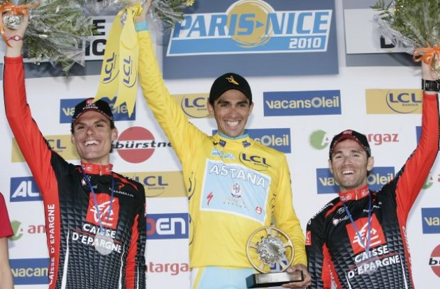 Sanchez, Contador and Valverde on the podium in Nice. Photo copyright Fotoreporter Sirotti.