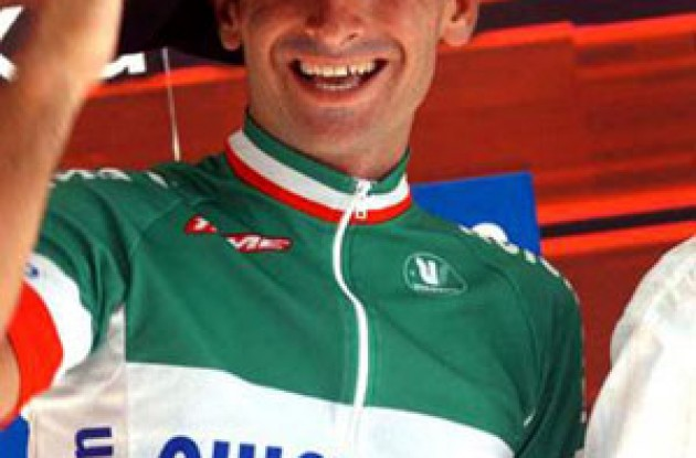 Paolo Bettini is the first rider to win three World Cup races in one season. Photo copyright Fotoreporter Sirotti.