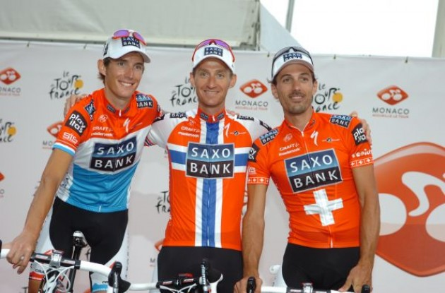 Schleck, Kurt Asle Arvesen, and Fabian Cancellara (all Team Saxo Bank). Photo copyright Fotoreporter Sirotti.