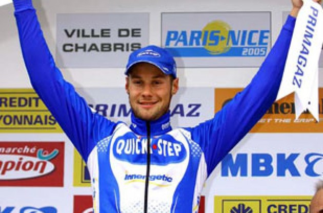 A happy Boonen on the podium. Photo copyright Fotoreporter Sirotti.