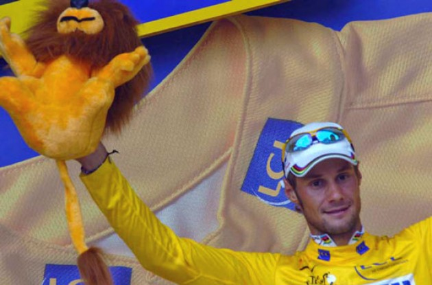 Tom Boonen in the yellow jersey. Photo copyright Fotoreporter Sirotti.
