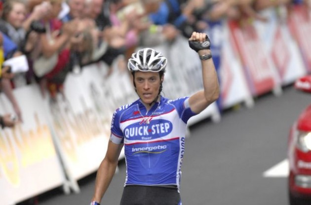 Sylvain Chavanel (Team Quick Step) wins stage 2 of the Tour de France 2010. Photo copyright Fotoreporter Sirotti.