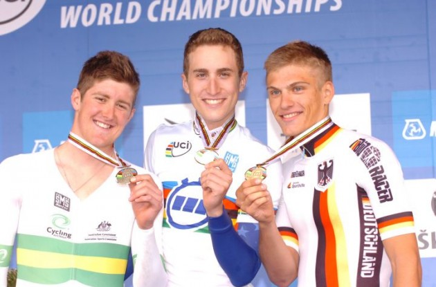 Taylor Phinney, Luke Durbridge and Marcel Kittel celebrating on the 2010 Cycling World Championships podium. Photo Fotoreporter Sirotti.