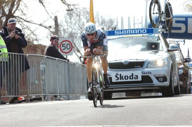 Taylor Phinney powers forward. Photo copyright Fotoreporter Sirotti.