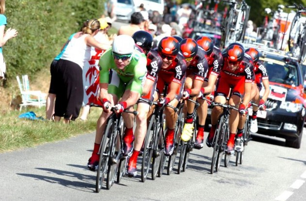 Team BMC Racing headed by Cadel Evans. Photo Fotoreporter Sirotti.