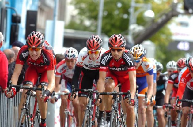 Team BMC Racing leads the peloton for Taylor Phinney. Photo Fotoreporter Sirotti.