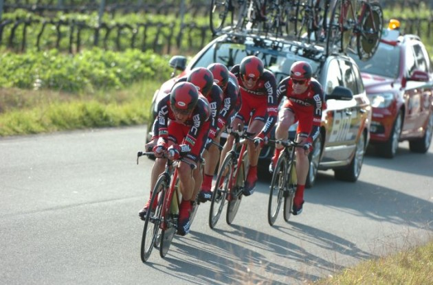 Team BMC working to defend Cadel Evans' victory in last year's Tirreno-Adriatico. Photo Fotoreporter Sirotti.
