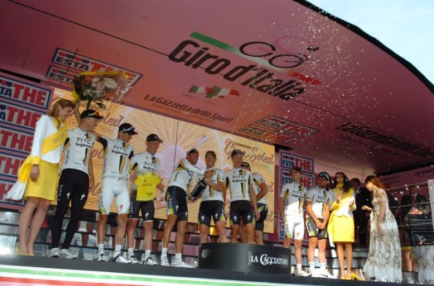 Team HTC-HighRoad has won the stage 1 team time trial in the Giro d'Italia 2011. Photo Fotoreporter Sirotti.
