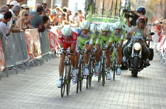 Team Liquigas-Cannondale finished 2nd in today's team time trial. Photo Fotoreporter Sirotti.
