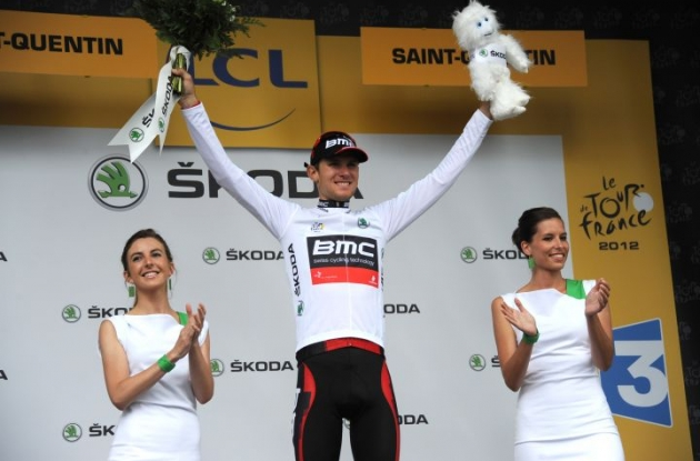 Team BMC Racing's American Tejay van Garderen leads the young rider classification of the 2012 Tour de France. Photo Fotoreporter Sirotti.