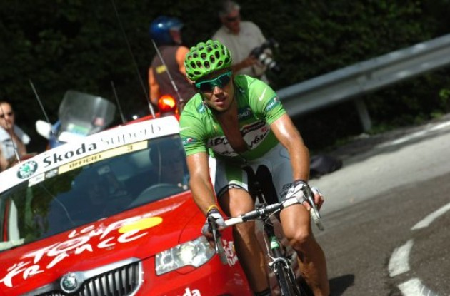 Thor Hushovd (Cervelo TestTeam). Bravo! Great effort Thor! The right man is in green! Photo copyright Fotoreporter Sirotti.