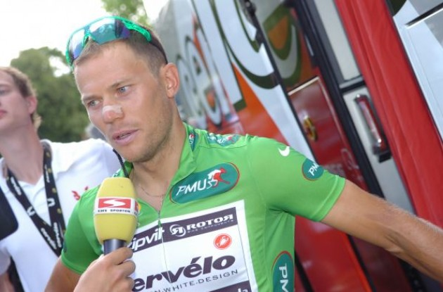 Thor Hushovd is interviewed before the start of today's Tour de France stage. Photo copyright Fotoreporter Sirotti.