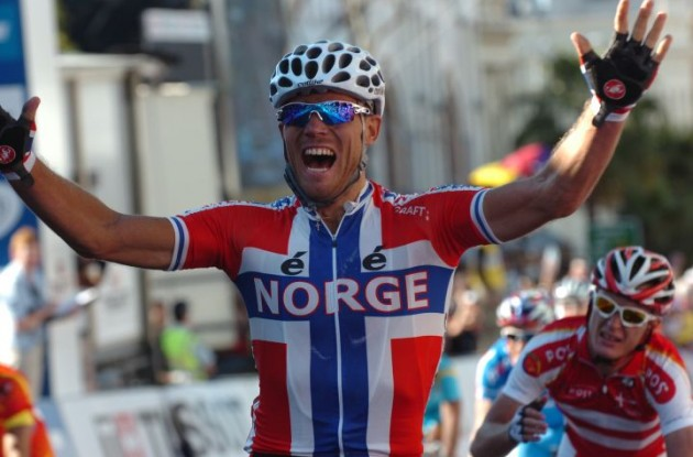 Thor Hushovd is the new World Champion! Congratulations Thor from the whole team here at Roadcycling.com! Photo Fotoreporter Sirotti.