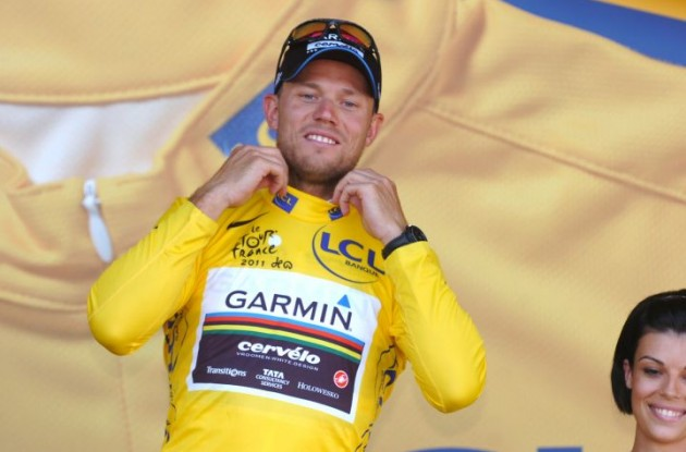 Norwegian God of Thunder Thor Hushovd takes yellow jersey and overall Tour de France lead. Photo Fotoreporter Sirotti.