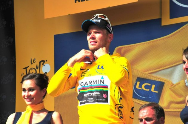 Norwegian God of Thunder Thor Hushovd maintains yellow jersey and overall Tour de France lead. Photo Fotoreporter Sirotti.
