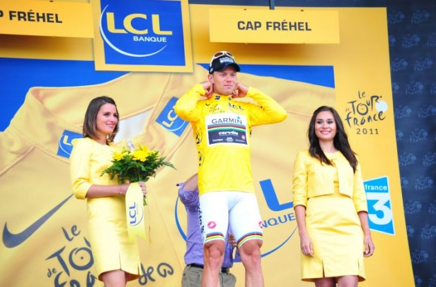 Thor Hushovd is still the overall leader of the Tour de France 2011 for Team Garmin-Cervélo. Photo Fotoreporter Sirotti.