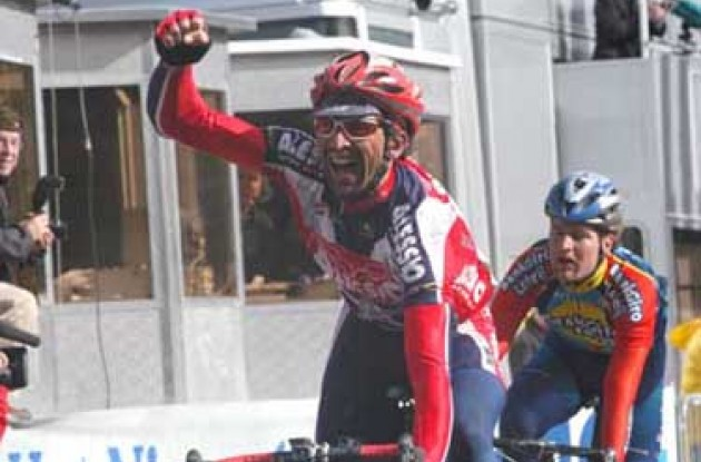 Yippee! I won! Baldato takes stage 2. Photo copyright Fotoreporter Sirotti.