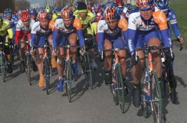 This is our day! Rabobank train leads the peloton. Photo copyright Fotoreporter Sirotti
